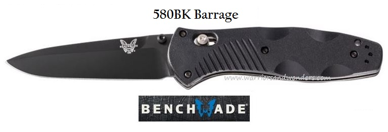 Benchmade Barrage Black Plain Edge Assisted Opening 580BK