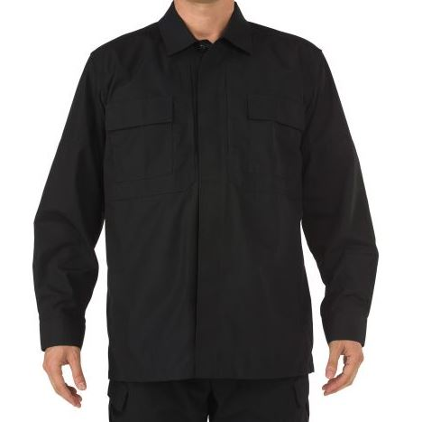 5.11 TDU Shirt L/S, Ripstop - Black [Clearance Size XL]
