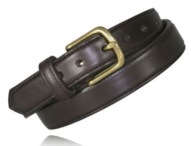 "Boston Leather 6425 1.25"" Feather Edge Dress Belt - Brown [SALE]"