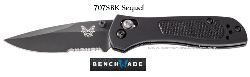 Benchmade 707SBK Sequel Black ComboEdge (Online Only)