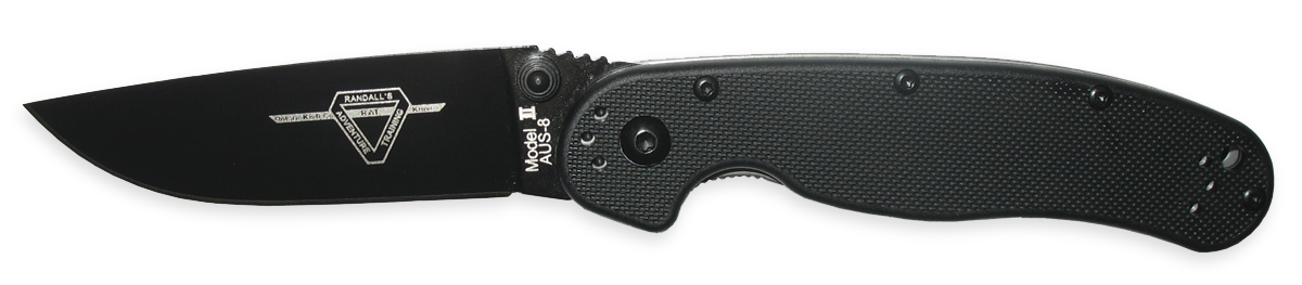 OKC 8861 RAT 2 Plain Edge, Black Blade - Black Handle