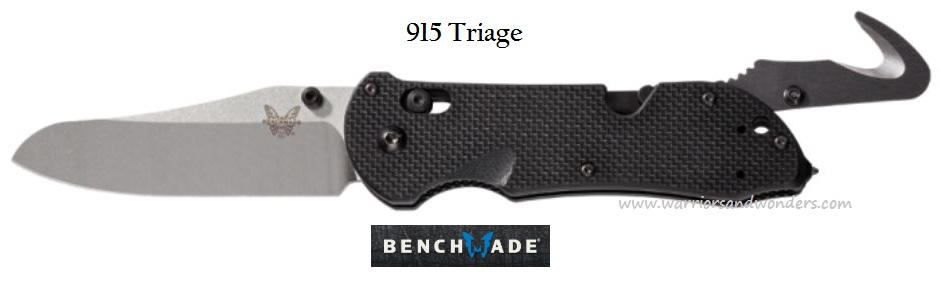 Benchmade Triage Satin Plain Edge Black Handle 915 (Online Only)
