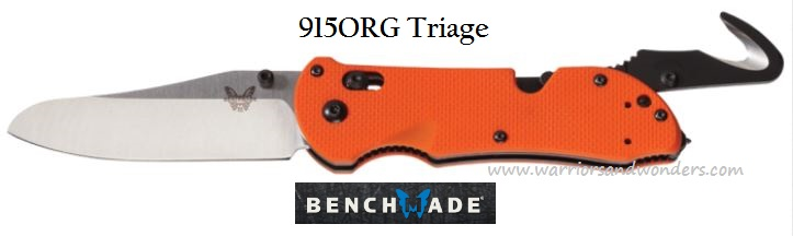 Benchmade 915ORG Triage Orange Handle, Plain Satin Blade