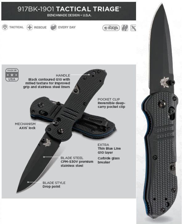 Benchmade Tactical Triage Thin Blue Line