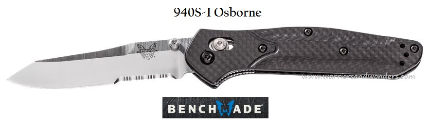 Benchmade 940S-1 Osborne S90V Partially Serrated - Carbon Fiber