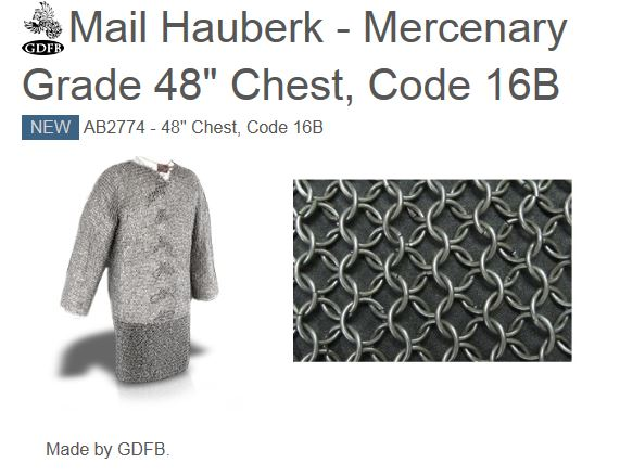 "GDFB AB2774 Mail Hauberk Mercenary (Blackened) 48"" Chest (Online"