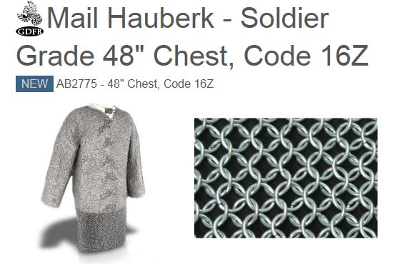 "GDFB AB2775 Mail Hauberk Soldier Grade 48"" Chest (Online Only)"