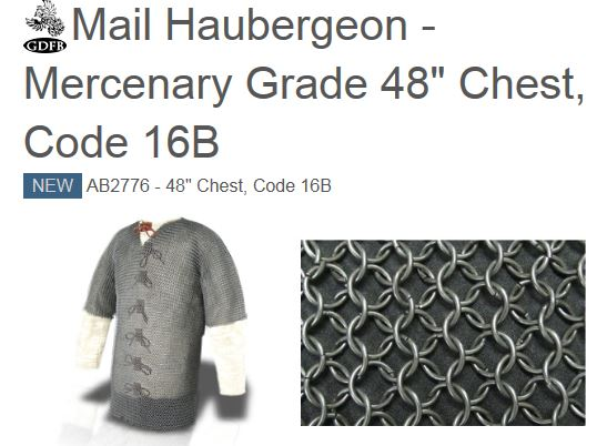 "GDFB Mail Haubergeon Mercenary Blackened 48"" Chest (Online Only)"