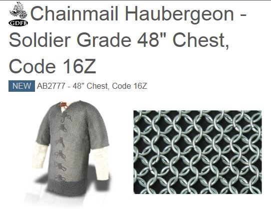 "GDFB AB2777 Chainmail Haubergeon Soldier Grade 48"" Chest (Online"