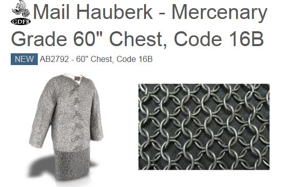 "GDFB AB2792 Mail Hauberk Mercenary Grade 60"" Chest (Online Only)"