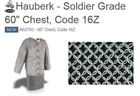 "GDFB AB2793 Hauberk Soldier Grade 60"" Chest"
