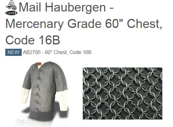 "GDFB AB2795 Mail Haubergen Mercenary Blackened 60"" Chest (Online"