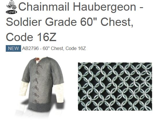 "GDFB AB2796 Chainmail Haubergeon Soldier Grade 60"" Chest"