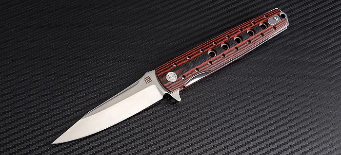 Artisan Cutlery 1807PBR Virginia D2 Curve- Red G-10