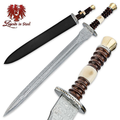 Legends in Steel Renaissance Damascus Sword- Wood & Bone Handle