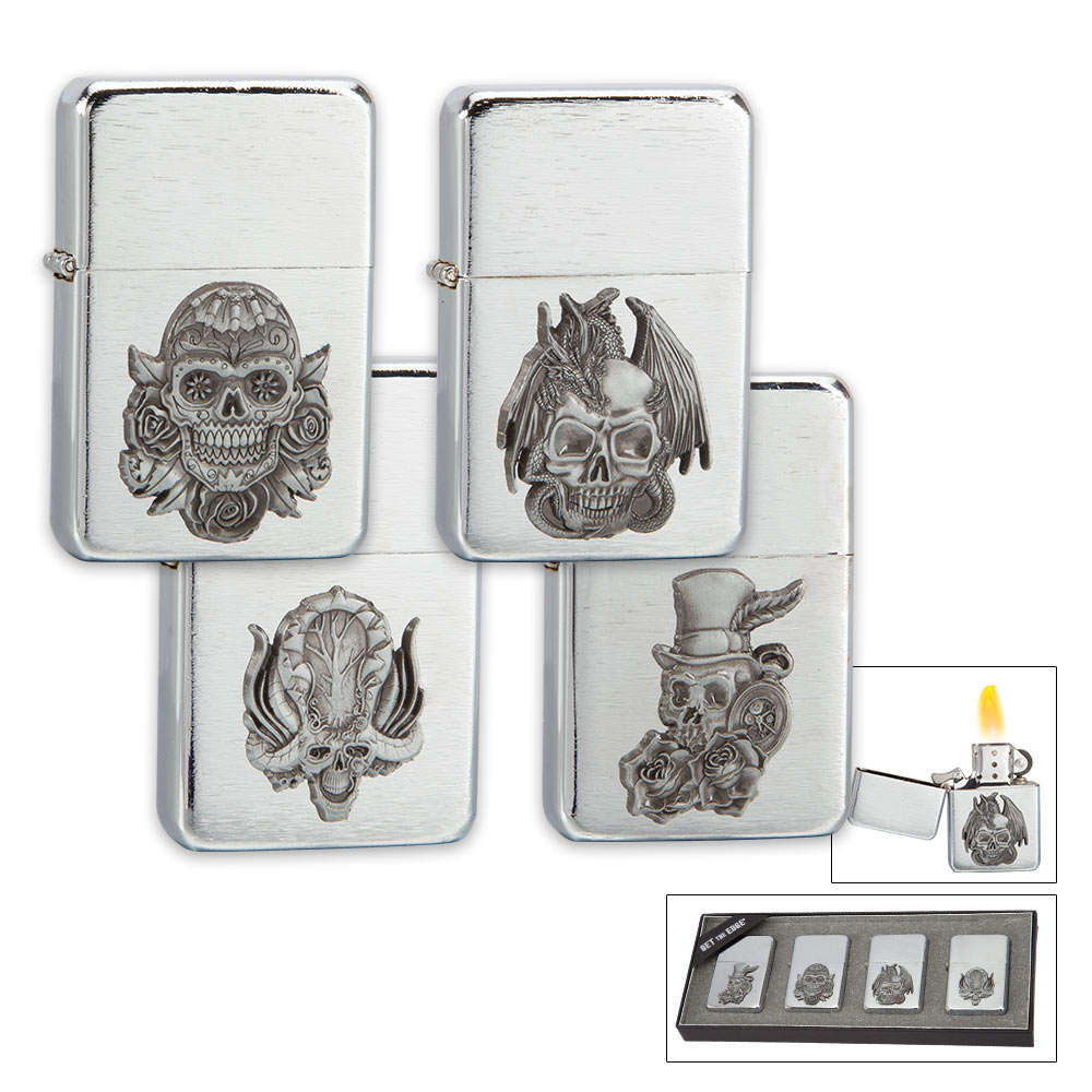 Brushed Chrome Skull Lighter Set