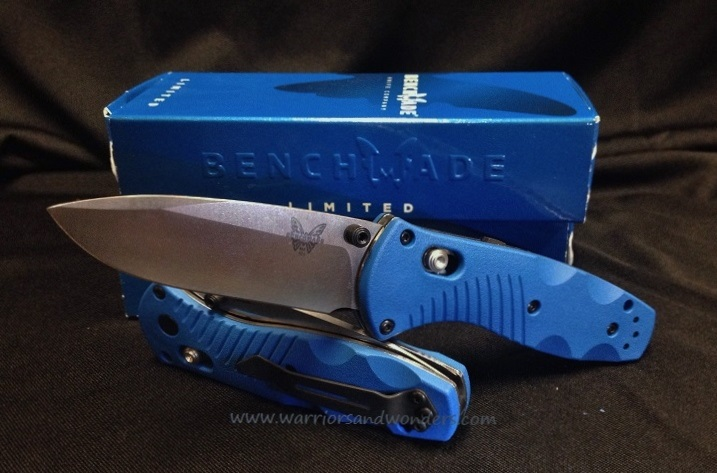 Benchmade Mini Blue Barrage 585-1002, Satin Plain-Limited 200