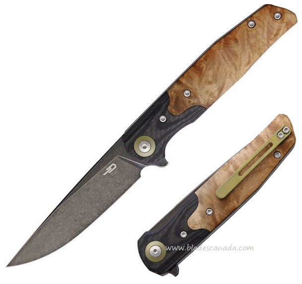 Bestech Knives Ascot Flipper Folder, D2, Wood Handle w/G10 Bolster, BTKG19E