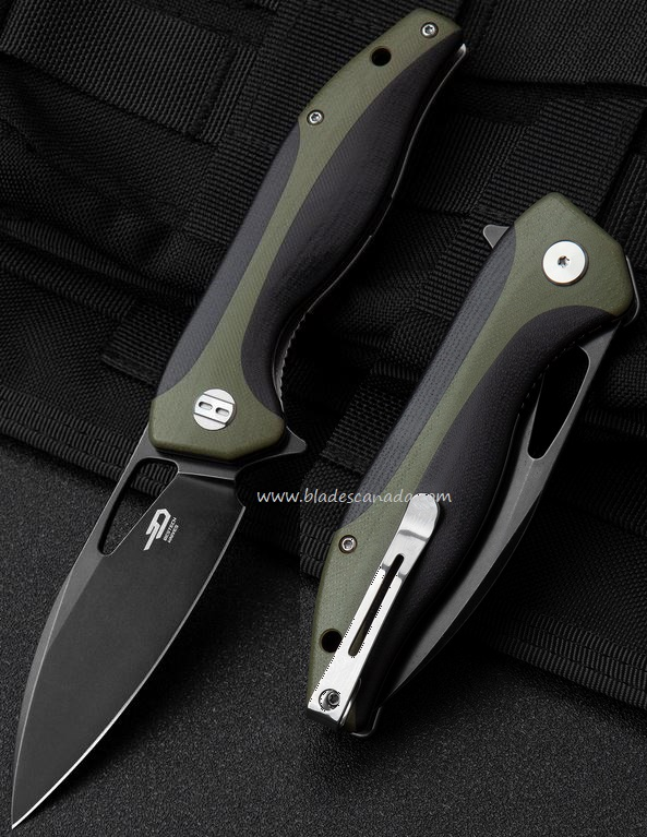 Bestech Knives Komodo Flipper Folder, D2 Steel, Black/Green G10, BTKG26D