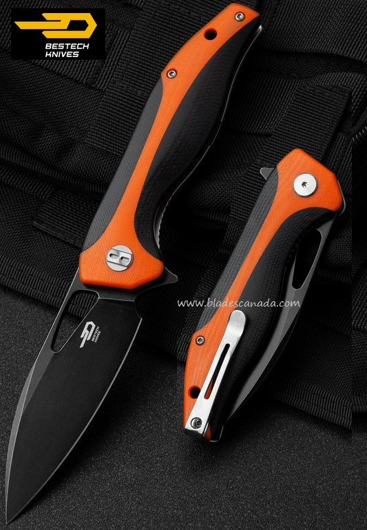 Bestech Knives Komodo Flipper Folder, D2 Black Stonewash, Orange & Black G10, BTKG26C