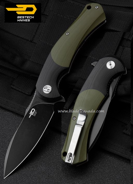 Bestech Knives Penguin Flipper Folder, D2 Steel, Black/Green G10, BTKG32E