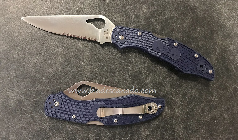 Byrd Knives Cara Cara 2 Blue FRN w/Serration, Spyderco BY03PSBL2