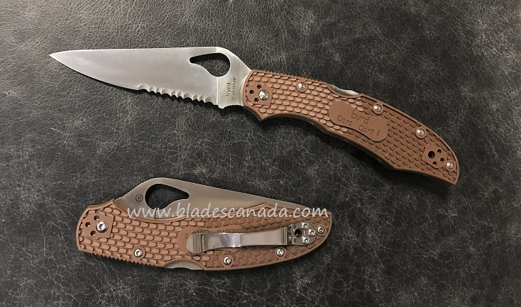 Byrd Knives Cara Cara Brown FRN w/Serration, BY03PSBN2