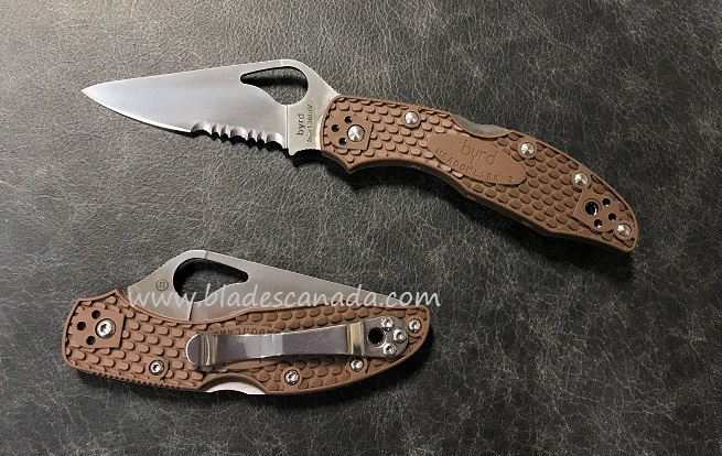 Byrd Knives Meadowlark Brown FRN w/Serration, Spyderco BY04PSBN2
