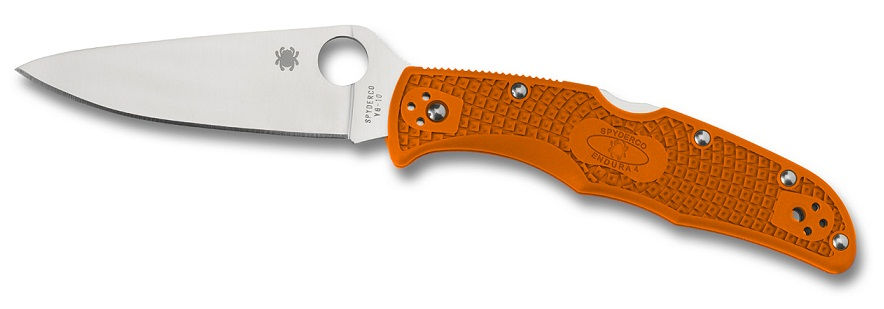 Spyderco C10FPOR Endura 4 Orange FRN Handle FFG Plain Edge
