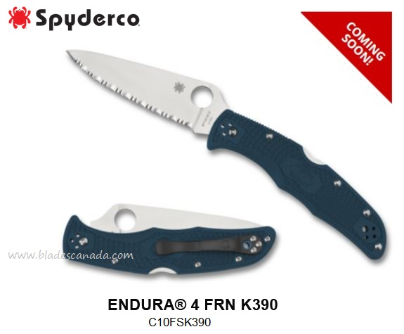 (Coming Soon) Spyderco Knives Endura 4 Serrated, K390 steel, C10FSK390