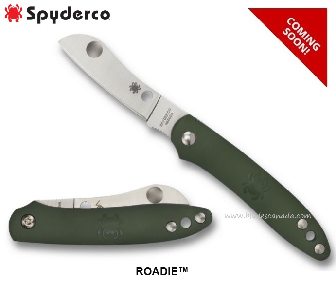 (Coming Soon) Spyderco Knives Roadie Green, N690Co, Slipjoint, C189PGR