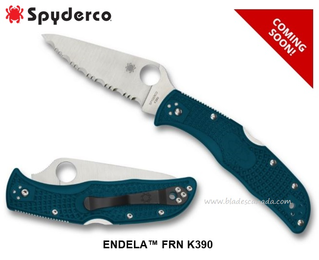 (Coming Soon) Spyderco Knives Endela Serrated, K390 Steel, C243FSK390