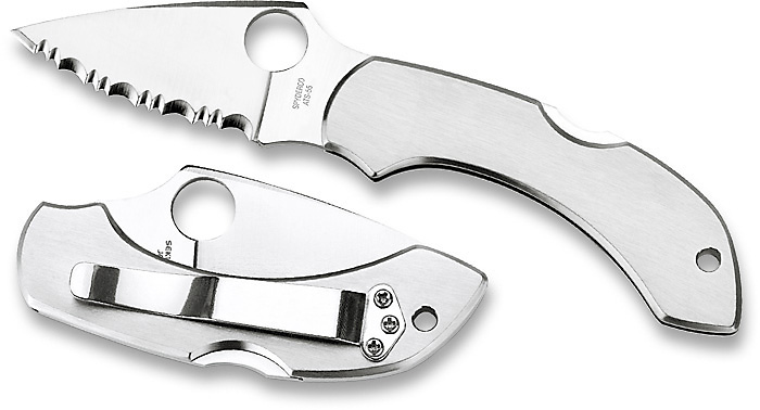 Spyderco Dragonfly Stainless Handle Serrated Blade C28S