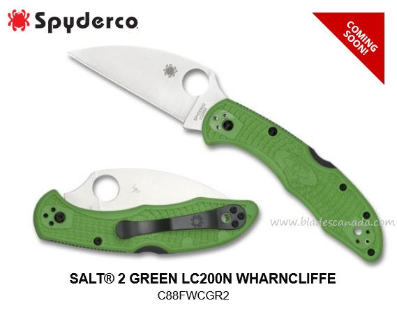 (Coming Soon) Spyderco Knives Salt 2 Green Wharncliffe, LC200N Steel, C88FPWCGR2