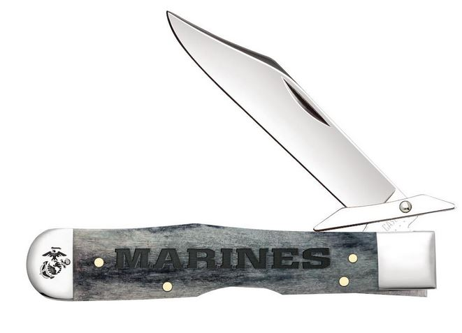 Case Knives USMC Cheetah Gray, Stainless, Bone Handle, CA13192