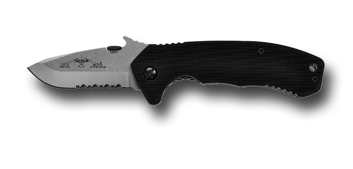 Emerson CQC14-SFS Satin Stone Washed, Partially Serrated