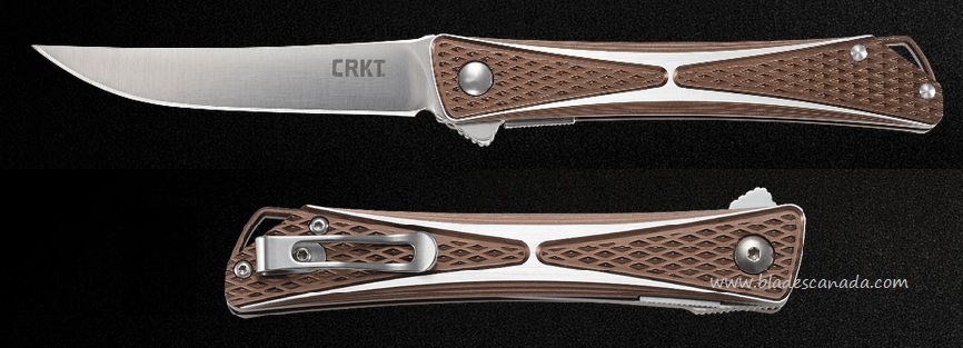 CRKT Crossbones Bronze Flipper Folding Knife, AUS8, CRKT7530B