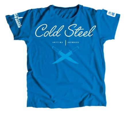 Cold Steel Women's Cursive Cross Guard T-Shirt, Blue