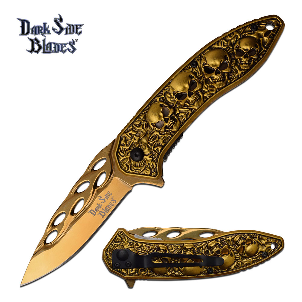 Dark Side Blades DSA055GD Flame Cut Skulls- Gold (Online Only)