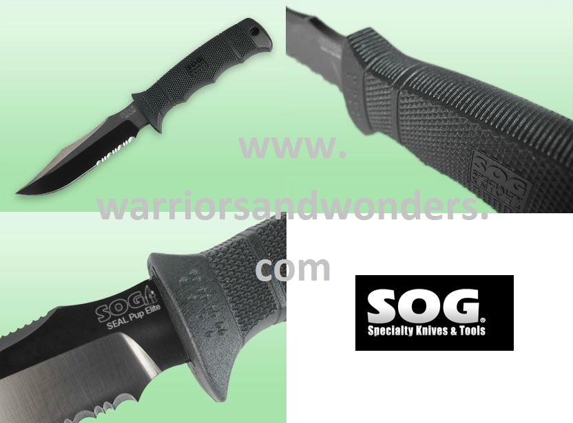 SOG Seal Pup E37TK Elite Black TiNi w/ Kydex Sheath
