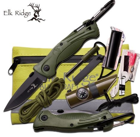 Elk Ridge PK4G Folder and Survival Kit - Green (Online Only)