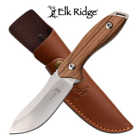 Elk Ridge ER20003D Zebra Wood Handle Fixed Blade (Online Only)