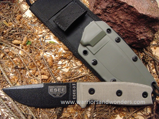 ESEE 3MIL-P-CP Black Plain Edge Clip Point, OD Sheath with MOLLE