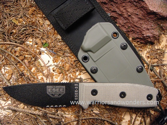 ESEE 3MIL-S Black Blade Serrated, OD Nylon Sheath with MOLLE