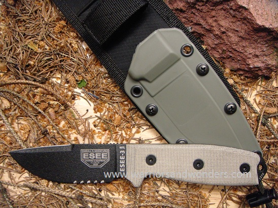 ESEE 3MIL-S-CP Black Blade Clip Point Serrated, OD MOLLE Sheath