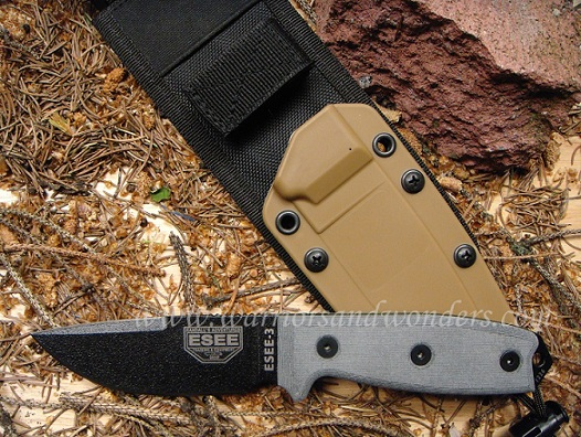 ESEE 3P-CP-MB Black Plain Edge Clip Point, Brown Sheath w/ MOLLE