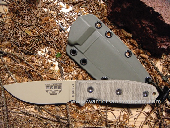 ESEE 3P-DT Desert Tan Plain Edge, OD Green Molded Sheath