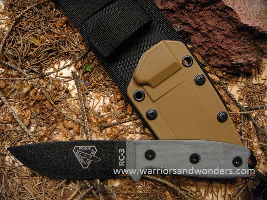 ESEE 3P-MB Black Plain Edge, Coyote Sheath MOLLE Back