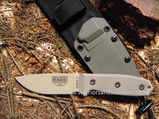 ESEE 3P-MB-DT Desert Tan Blade Plain Edge, MOLLE Sheath