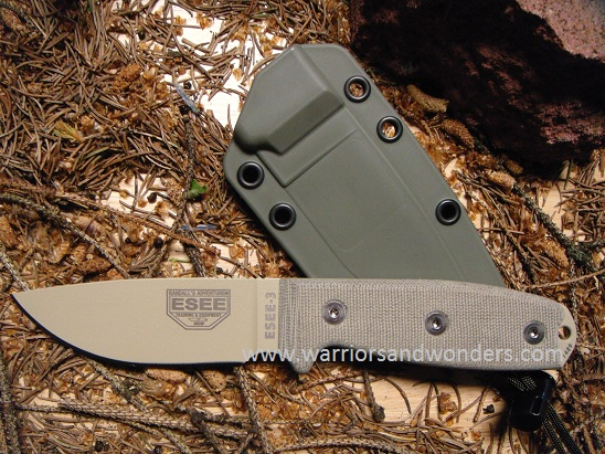 ESEE 3PM-DT Desert Tan Plain Edge Rounded Pommel (Online Only)